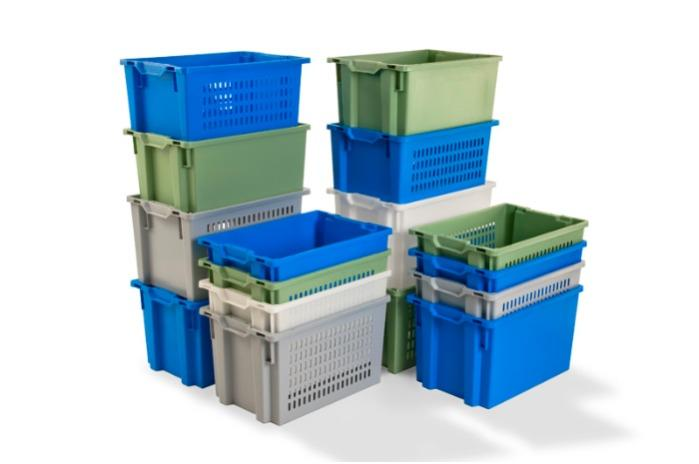 Stack and nesting boxes  - without apertures bellow the handles, 50L (solid and/or perforated)