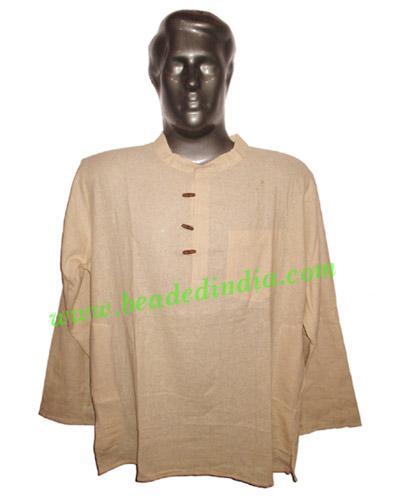 full sleeve short khadi yoga kurta, size : chest 50 x height - full sleeve short khadi yoga kurta, size : chest 50 x height 30 inches (extra la