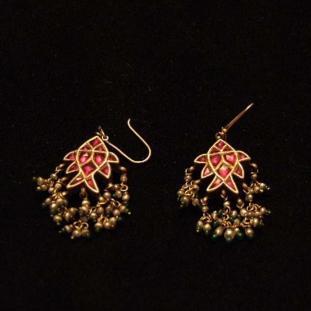 Boucles d'oreilles - Or 20ct, pâte de verre, perles, émeraudes, Inde