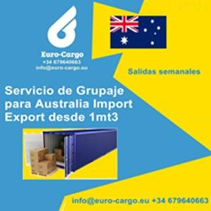 Groupage Service to Australia - Weekly departures from Spain