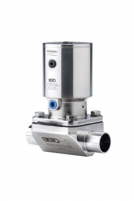 SISTO-C aseptic Diaphragm valve, forged body, PN16 - 2/2way valve, 1.4435, pneumatic actuator, butt welded/Clamp, enclosed diaphragm