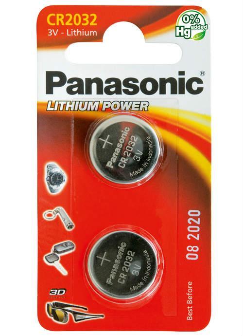 Batterie al litio a bottone CR2032 - CR-2032L/2BP | Blister da 2 microbatterie specialistiche Panasonic