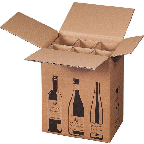 Versandkarton für Flaschen 6er mit 3er Einlage