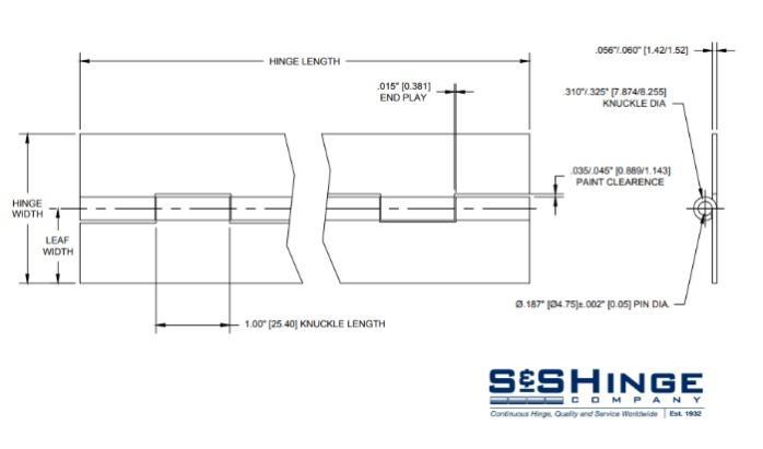 Hinges - 1700 Series - CAD files - 1705x96