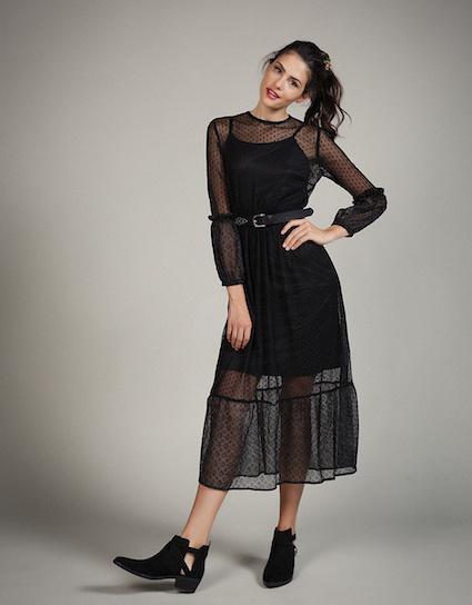 Cosmos - Midi μακρυμάνικο τούλινο φόρεμα με ελαστική μέση