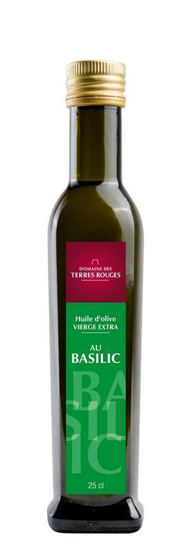 Huile d'Olive au Basilic 25cl - DOMAINE DES TERRES ROUGES