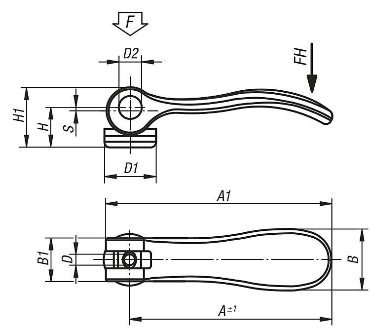 Levier à serrage rapide en acier avec taraudage ou filetage - Serrages à came