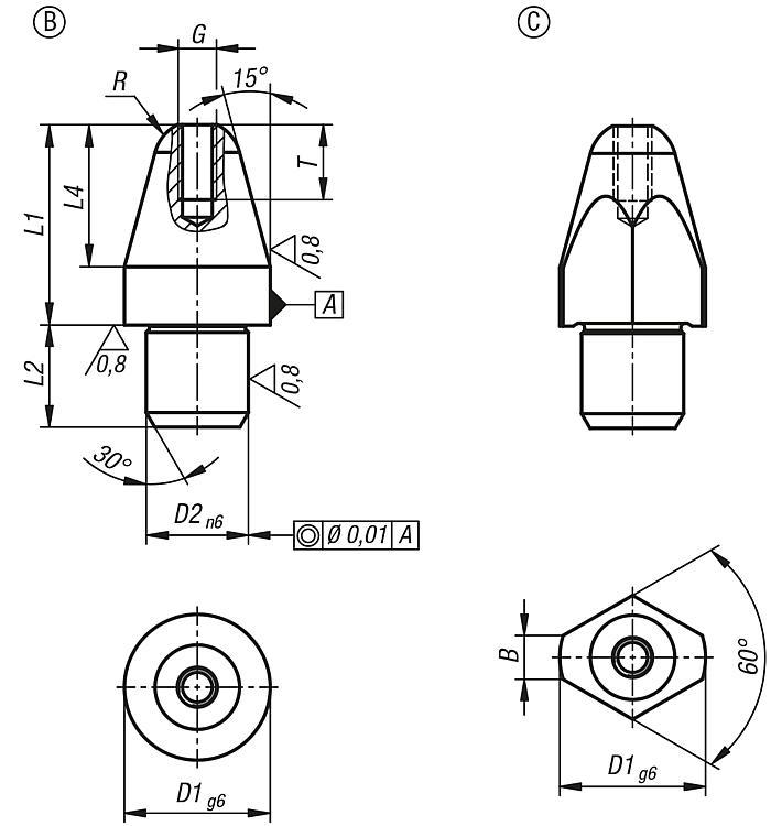 Locating pins with internal thread - Rest pads and positioning feet