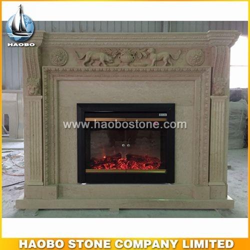 Beige marble indoor fireplace designs - Fireplace