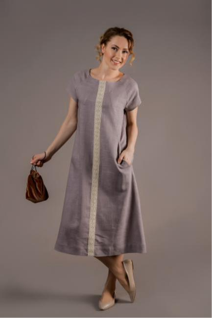 Ladies linen dress with laces insert in the front - 100% flax