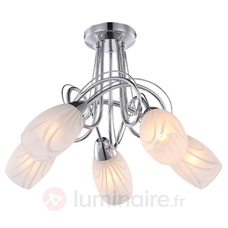 Plafonnier Reana à 5 lampes - Plafonniers chromés/nickel/inox