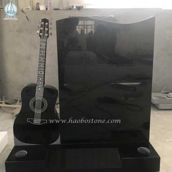 India Black Monument Guitar Carved Headstone - Tombstone Sets