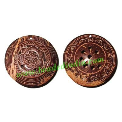 Handmade coconut shell wood pendants, size : 52x19mm - Handmade coconut shell wood pendants, size : 52x19mm
