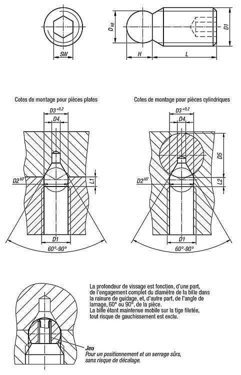 Poussoir à bille mobile à six pans creux - Élément de serrage et de centrage