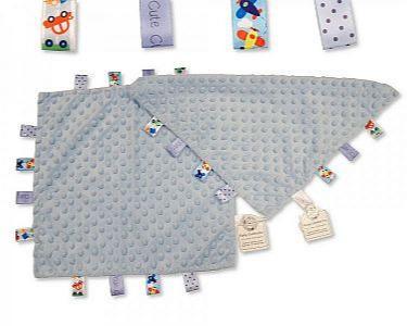 Baby Noppen-Schmusetuch mit Schlaufen - Blau -