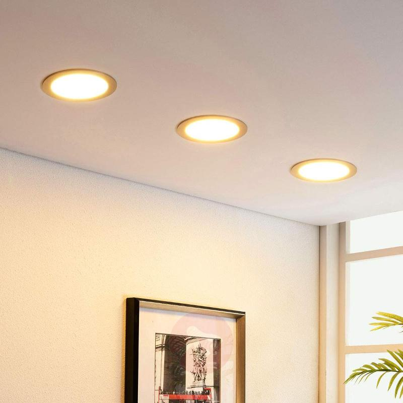 Nickel-coloured LED recessed light Martje, round - Downlights
