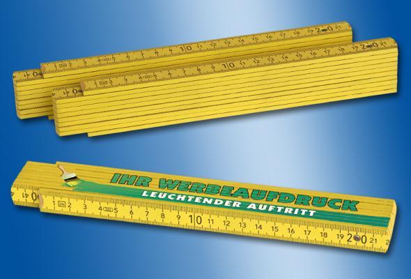 HOLZ-ZOLLSTOCK 2m gelb - Menge: 50 Stück (3,70 EUR/Stück netto) 100 Stück (3,10 EUR/S