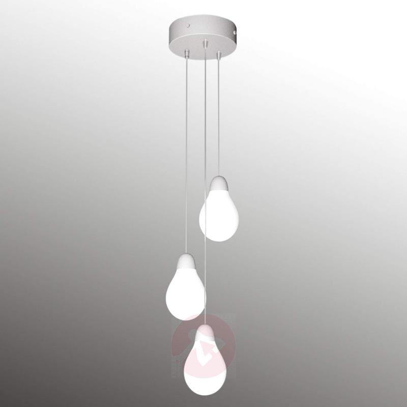 Plum three-bulb hanging light with Bohemian glass - indoor-lighting