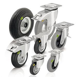 Wheels and castors - with soft rubber tyres and two-component solid rubber tyres