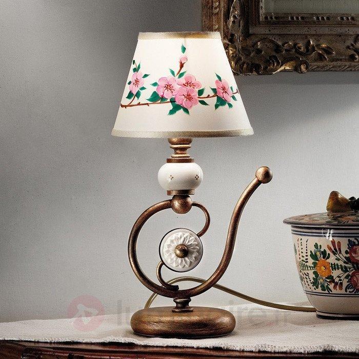 Lampe à poser Francesca avec abat-jour en soie - Lampes de chevet
