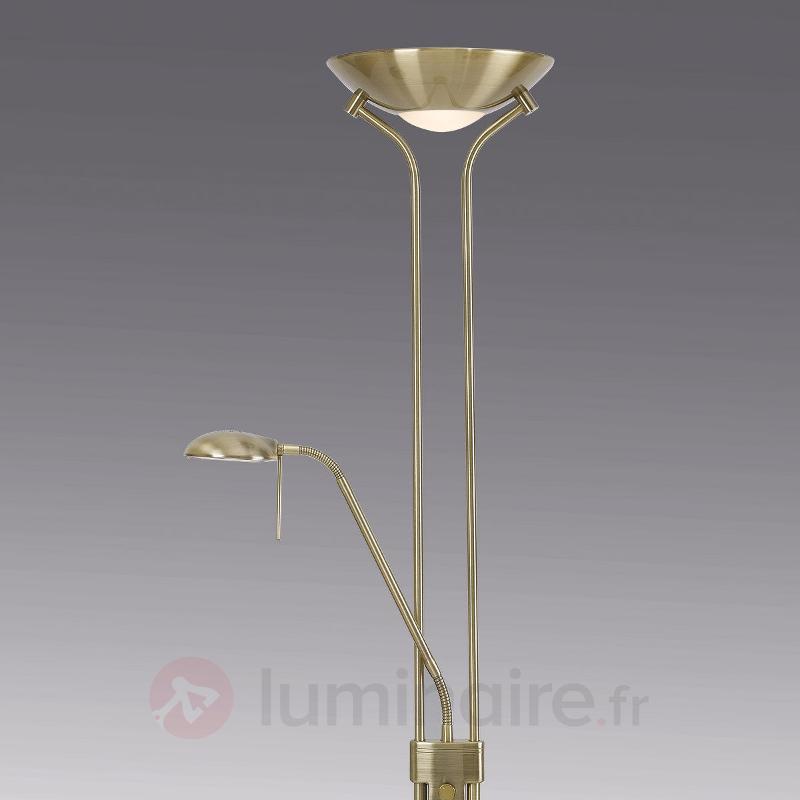 Lampadaire Malena laiton ancien avec liseuse - Lampadaires à éclairage indirect