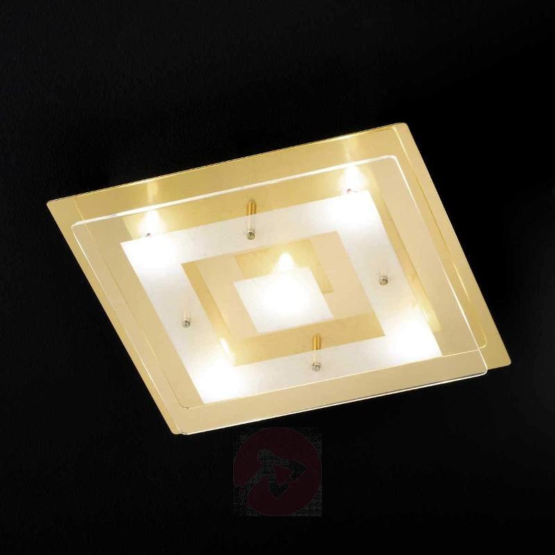 Quadratic LED ceiling lamp Lamei brass - Ceiling Lights