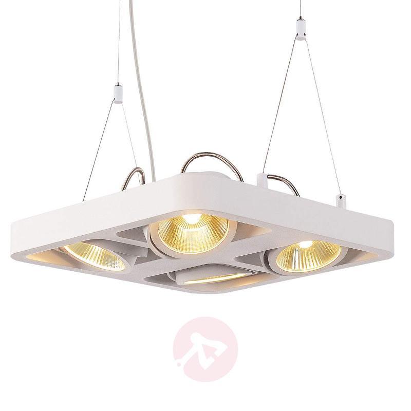 White Lynah LED hanging light, 4-it. - Pendant Lighting