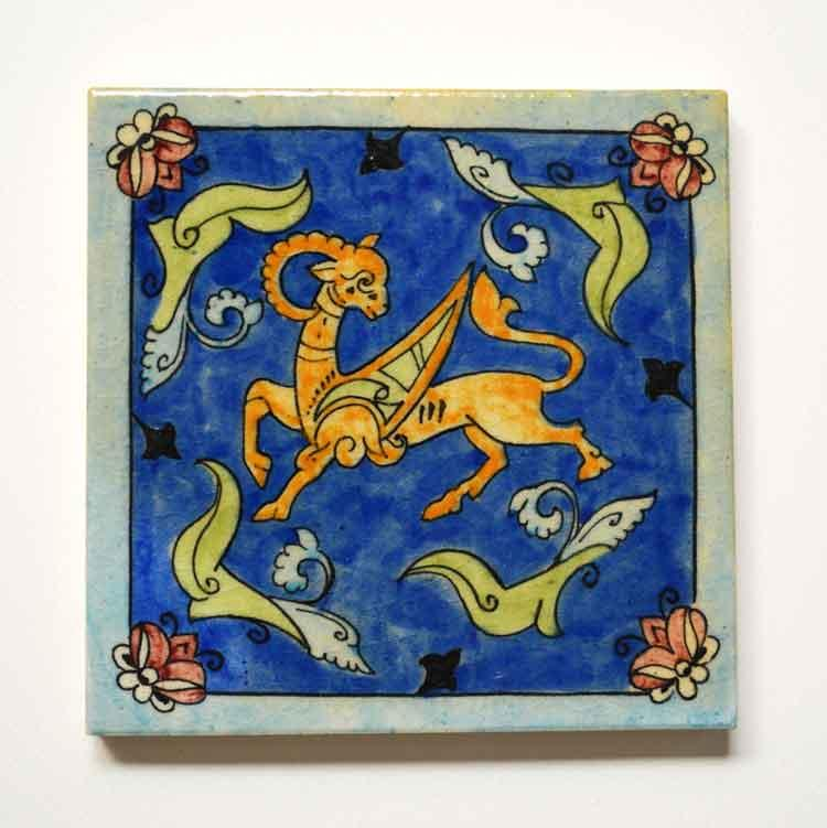 Winged Goat Tile -