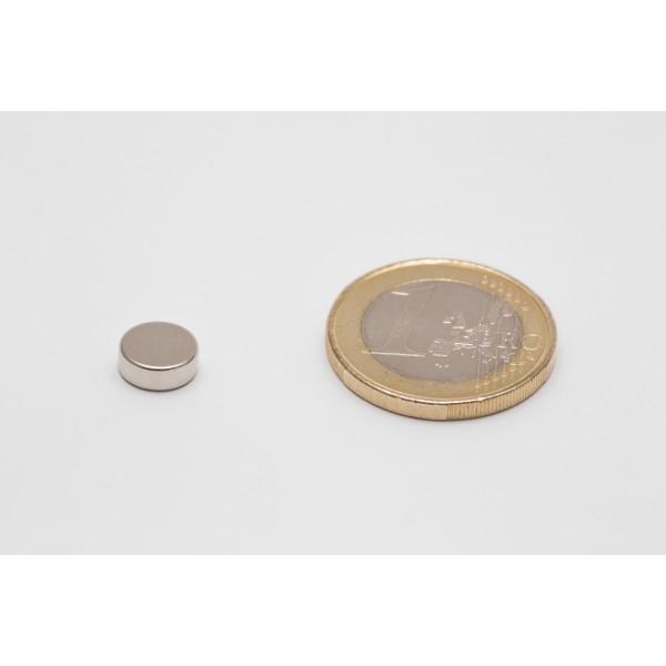 Neodymium disc magnet 8x3mm, N45, Ni-Cu-Ni, Nickel coated - Disc