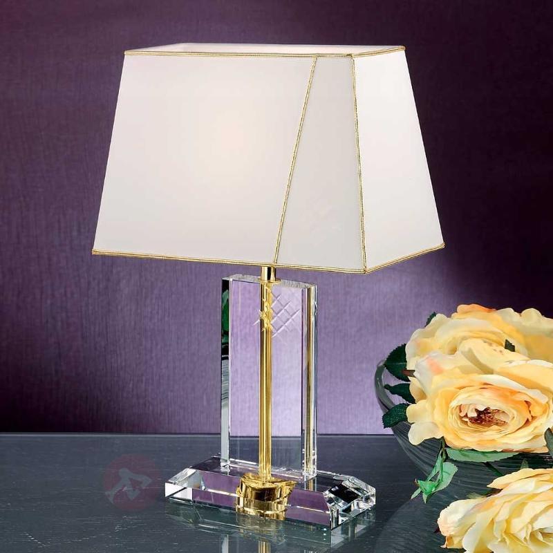 Lampe de bureau en tissu ILAJA socle en cristal - Lampes à poser classiques, antiques