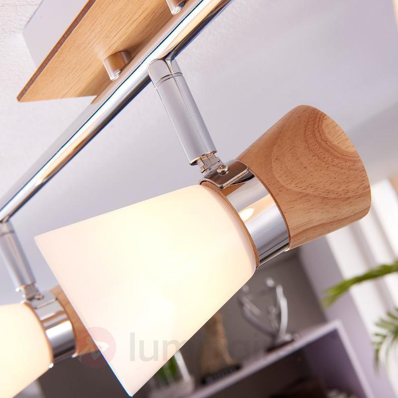 Vivica plafonnier à 3 lampes avec éléments en bois - Plafonniers en bois
