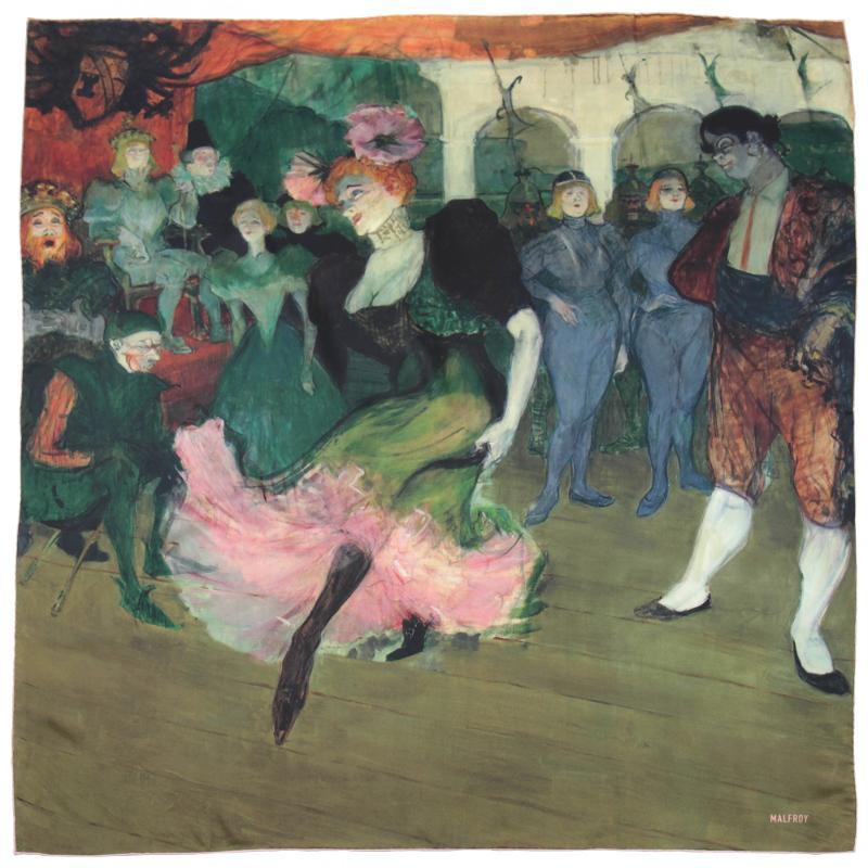 Carré En Twill De Soie Imprimé Toulouse Lautrec Le Boléro - Rose - LES GRANDS PEINTRES