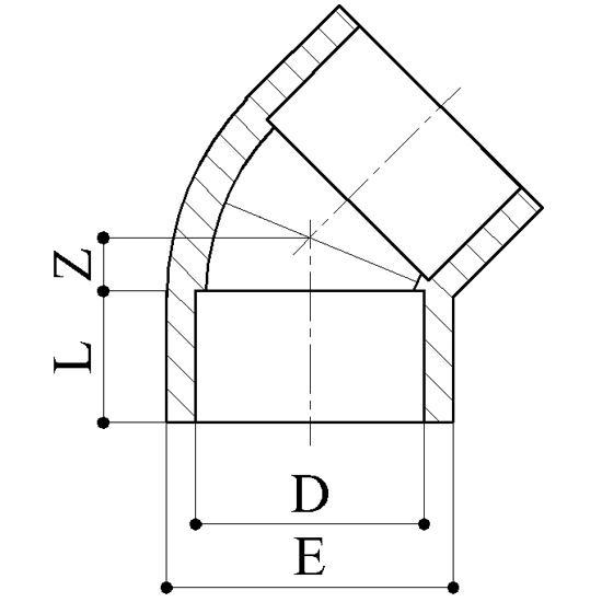 Gomiti 45° - Raccordi PP Raccordi in Polipropilene per polifusione nel bicchiere