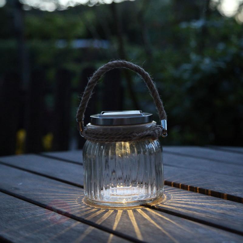 Lampe solaire LED à poser Jar en verre - Lampes solaires décoratives