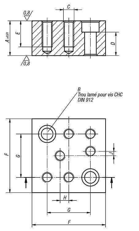 Bloc entretoise forme D - Éléments de montage