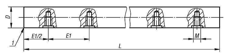 Arbre de guidage de précision avec alésages de fixation - Système de guidage linéaire