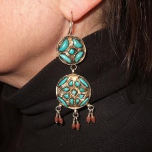 Boucles d'oreilles - Argent, turquoises, vermeil, coraux, Ouzbékistan