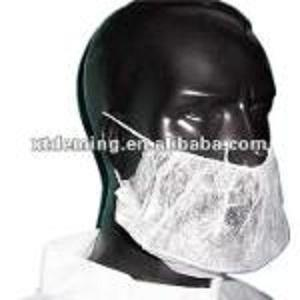 Cubierta de barba de PP desechable blanca con doble presilla - Mascarilla no tejida