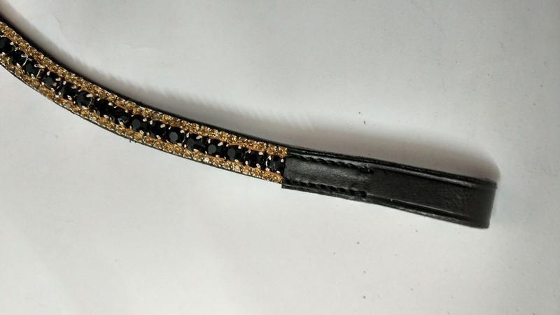 V Shape 3 Row Crystal Browband - V Shape 3 Row golden black golden Crystal Browband