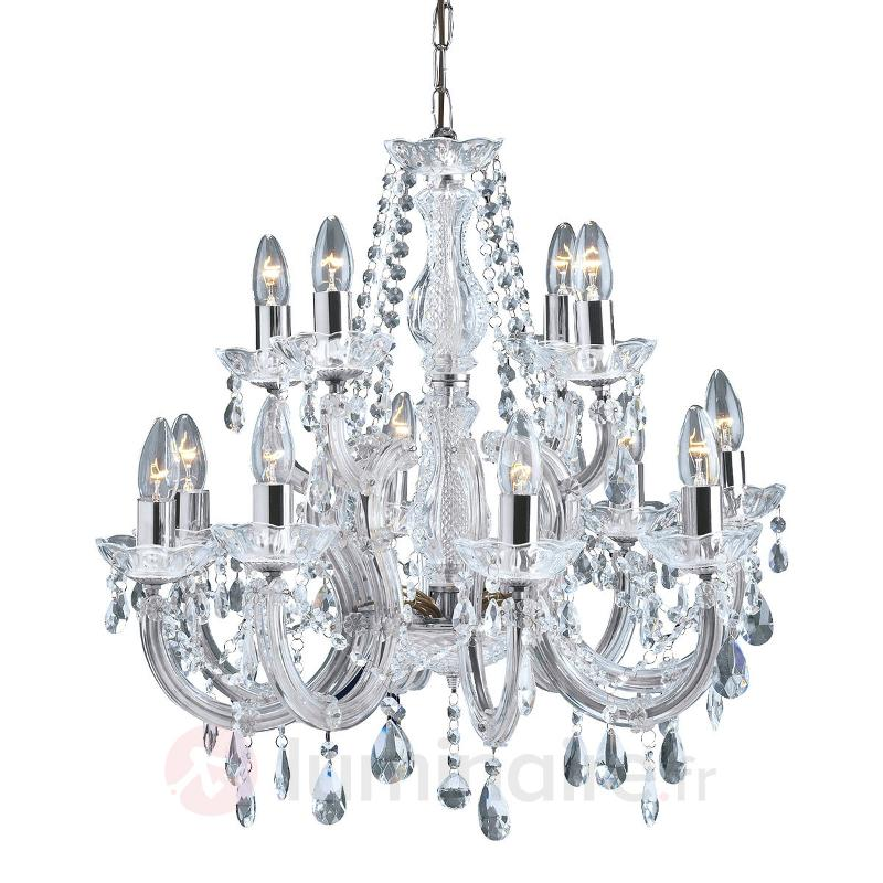 Lustre classique MARIE THERESE à 12 lampes chromé - Lustres en cristal