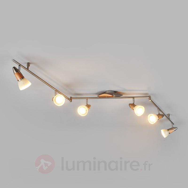 Plafonnier LED Marena en bois à six lampes - Plafonniers LED