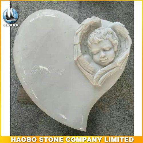 White Marble Carved Angel Heart Shape Memorial For Baby - Discover this Carved Angel Heart Shape Memorial made in white marble by Habo.