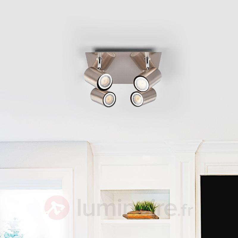 Plafonnier moderne Merle, nickel - Spots et projecteurs halogènes