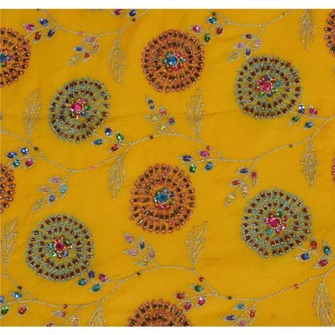Hand Beaded Dupatta - Sanskriti Vintage Dupatta Long Stole Georgette Hand Beaded Party Veil
