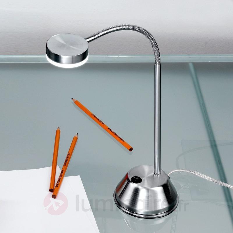 Lampe à poser flexible LED Colin nickel satiné - Lampes de bureau LED