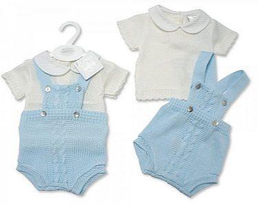 2 pcs salopette ensemble tricoté espagnol pour bébés garçons -