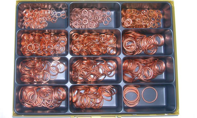 Assortment copper-non-asbestos gasket 8- - Inflation ring