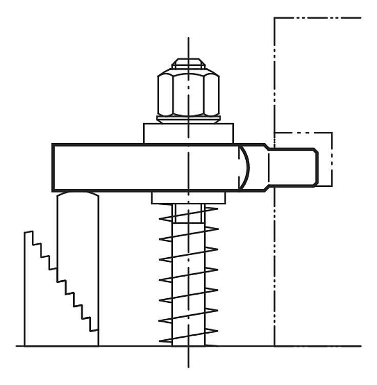 Bride ouverte à tourillon acier et aluminium DIN 6315 C - Bride étagée