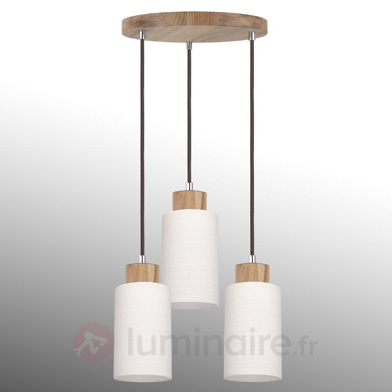 Suspension ronde Bosco chêne huilé 3 lampes - Cuisine et salle à manger