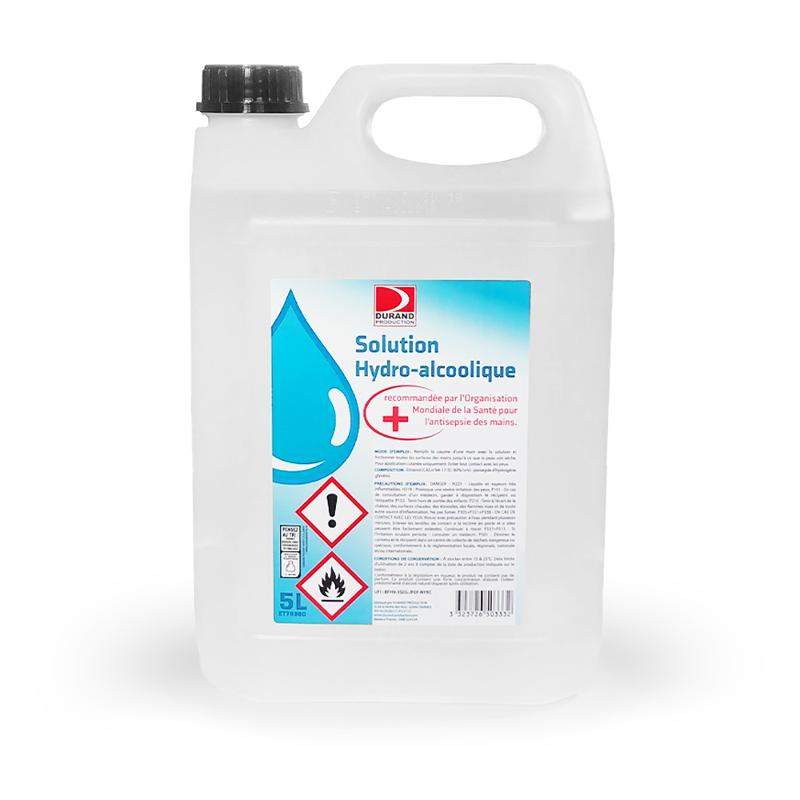 BIDON DE SOLUTION HYDRO-ALCOOLIQUE DÉSINFECTANT MAIN, 5L - Solution Hydro alcooliques